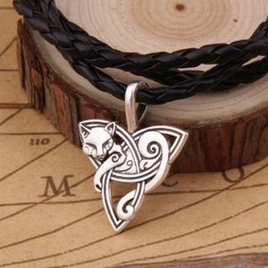 Other - Celtic Knot pendant with cat on braided necklace